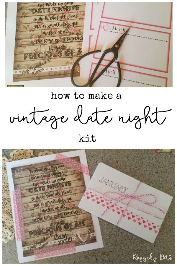 Have fun making some fun date nights with this Vintage Date Night Kit | www.raggedy-bits.com | #raggedybits #diy #vintage #farmhouse #valentinesday #datenight