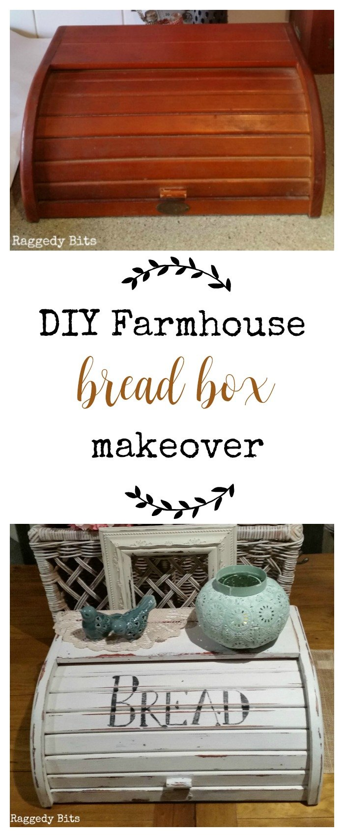 Have an old bread box? Sharing a fun DIY Farmhouse Bread Box Makeover | www.raggedy-bits.com