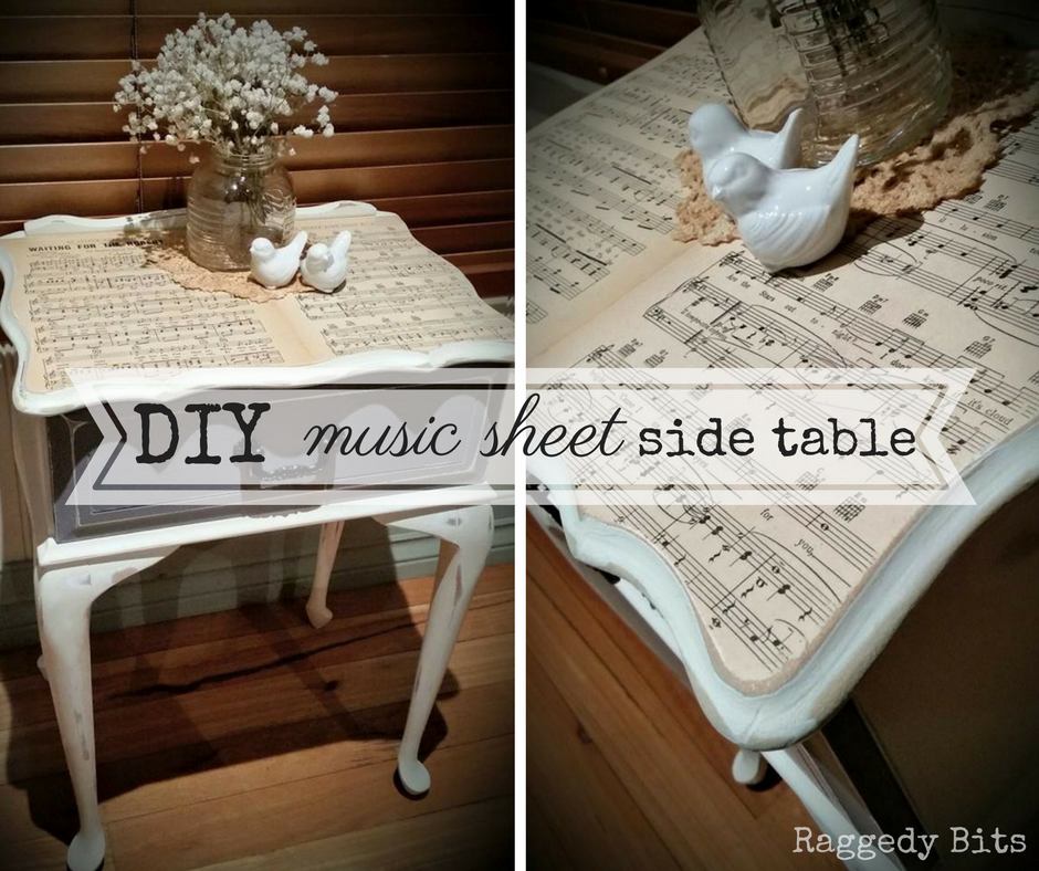It Brings music to my ears! Use a Music Sheets to make a DIY Music Sheet Side Table fit for a queen| www.raggedy-bits.com