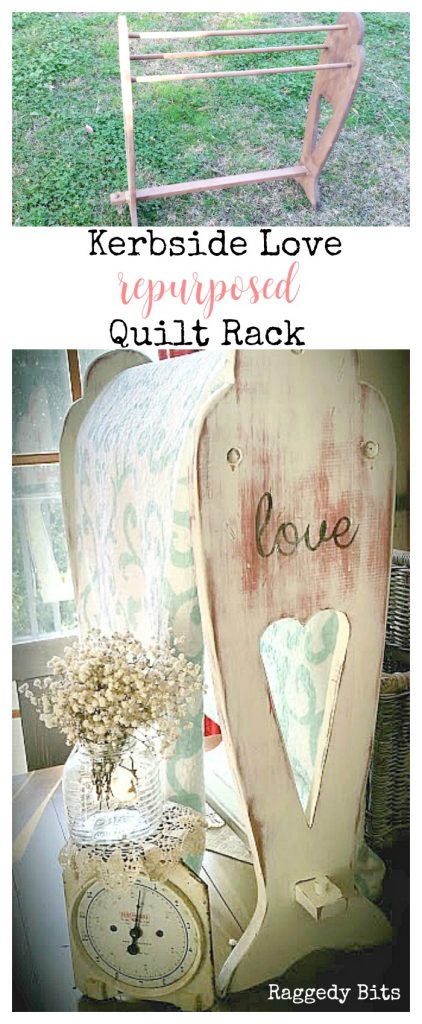 My parents found this old quilt rack on the side of the road and it quickly became a Kerbside Love - Re Purposed Quilt rack. It amazes the power of paint | www.raggedy-bits.com