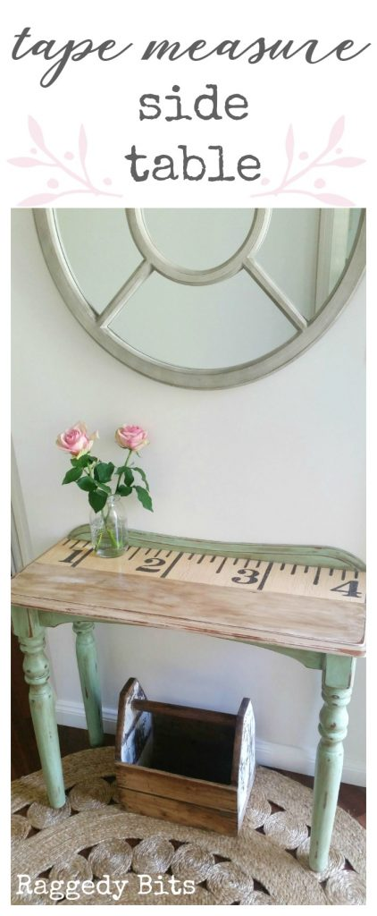 Using a tape measure graphic and some Mod Podge, this old side table has been given a new lease on life. Full tutorial | www.raggedy-bits.com