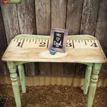DIY Tape Measure Side Table | www.raggedy-bits.com