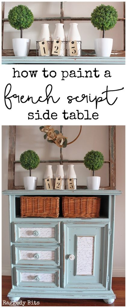 After finding this old table at my local thrift store I could see she had some potential. Sharing how I gave the sad old table a fresh new French Script Side Table Makeover | www.raggedy-bits.com #frenchscript #sidetable #painted #furniture #DIY #upcycle #raggedybits #farmhouse #homedecor