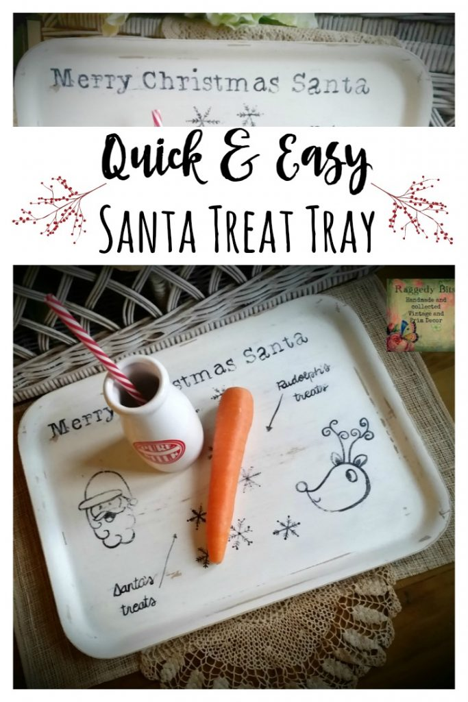 See how I turned a thrifted serving tray into a Quick Easy Santa Treat Tray | www.raggedy-bits.com