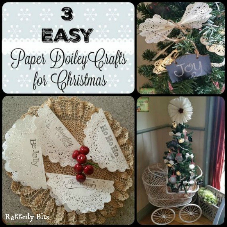 Everyone loves a fun Christmas project! See how I made 3 Easy Vintage Paper Doily Crafts for Christmas | www.raggedy-bits.com