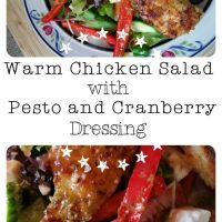 A delicious Warm Chicken Salad with Pesto and Cranberry Dressing. | www.raggedy-bits.com