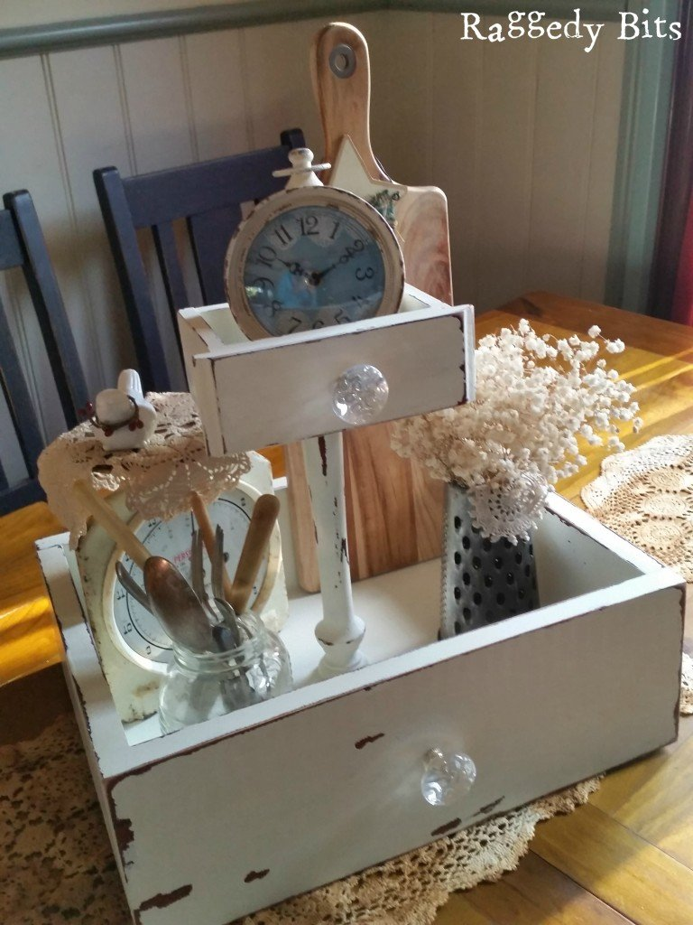 Old bits and pieces from a broken dressing table turned into a Farmhouse Drawer Caddy |www.raggedy-bits.com