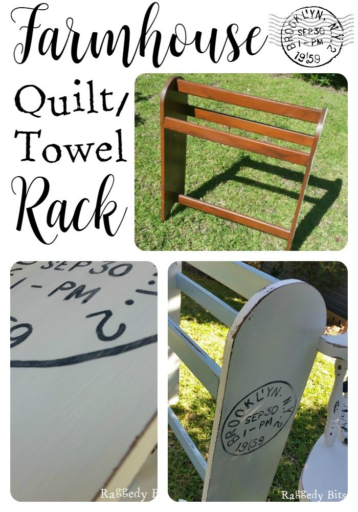 Farmhouse Quilt/Towel Rack. A sweet makeover for a dated quilt/towel rack |www.raggedy-bits.com