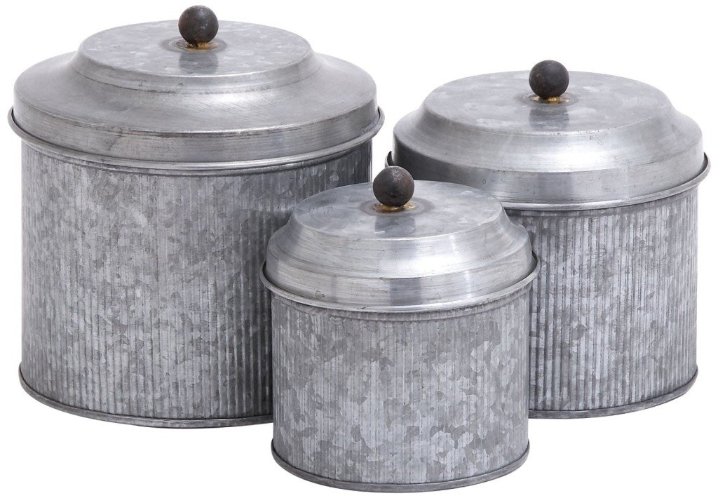 Set of 3 Farmhouse Galvanized Metal Canisters | www.raggedy-bits.com