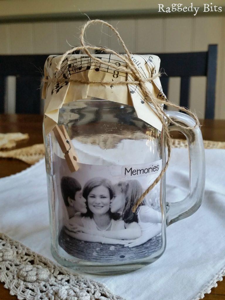 DIY Glass Jar Photo Holder Gift Idea Raggedy Bits