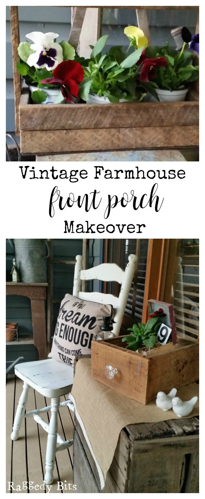 Sharing how I used lots of repurposed goodies for our Vintage Farmhouse Front Porch Makeover | www.raggedy-bits.com