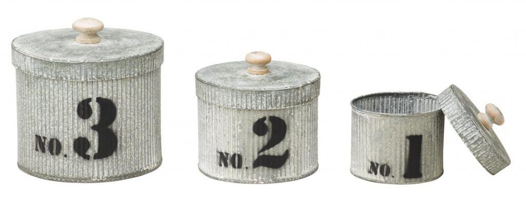 Set of 3 Farmhouse Galvanized Tin Canisters. A collection of 10 Farmhouse Finds Under $25 | www.raggedy-bits.com