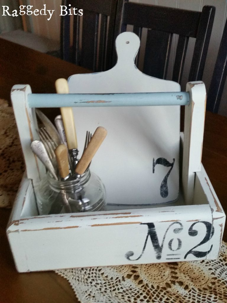 Farmhouse Wooden No 2 Caddy - A great little organiser piece to keep all your goodies in one spot or would make a great caddy for a BBQ when entertaining | 5 Farmhouse Favourites | www.raggedy-bits.com