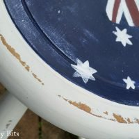 See how I gave an old stool an Aussie Stool Makeover. Joining in all the fun with a Red White and Blue Blog Hop | www.raggedy-bits.com