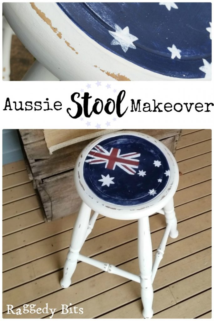 Joining in with all the fun for a Red, White and Blue Theme Blog Hop and painted an Aussie Stool Makeover   www.raggedy-bits.com