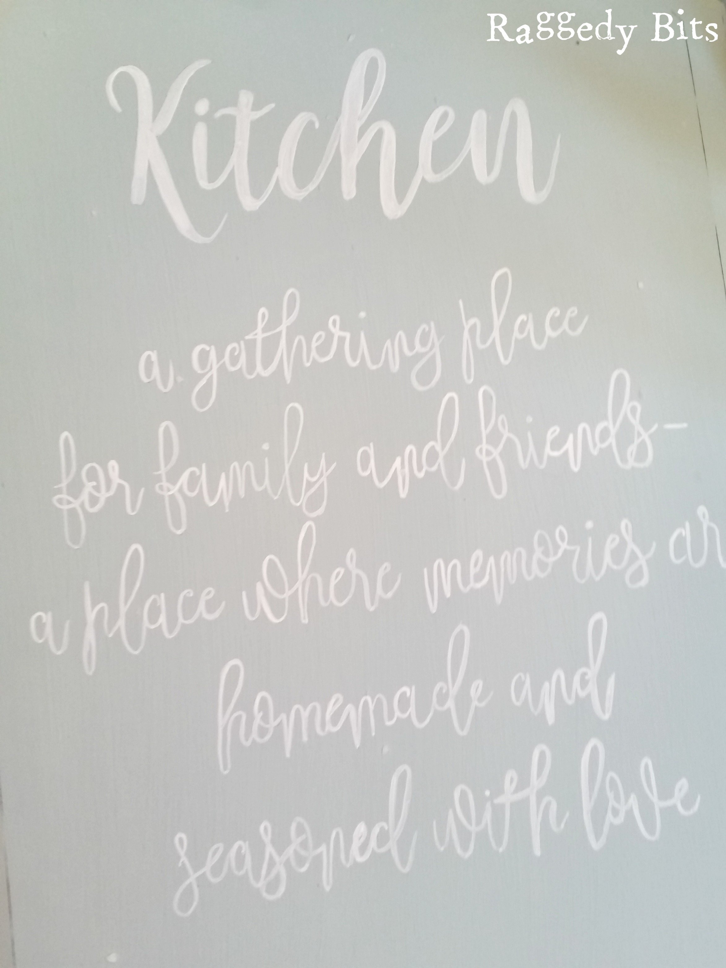 Sharing how I turned an old beveled edge mirror into a DIY Mirror Kitchen Sign. Full tutorial | www.raggedy-bits.com