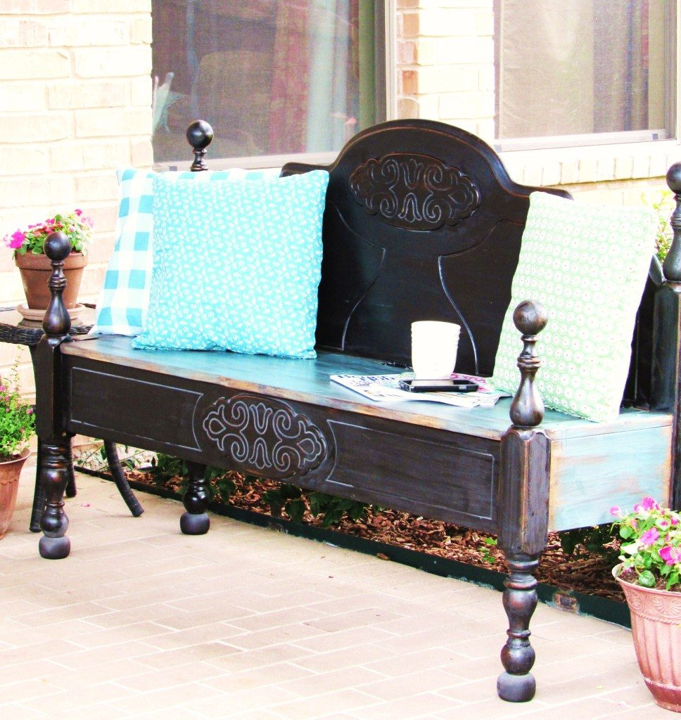 An awesome repurpose of an old bed head turned into a bench from The Purple Hydrangea featured at Wast Not Wednesday | www.raggedy-bits.com