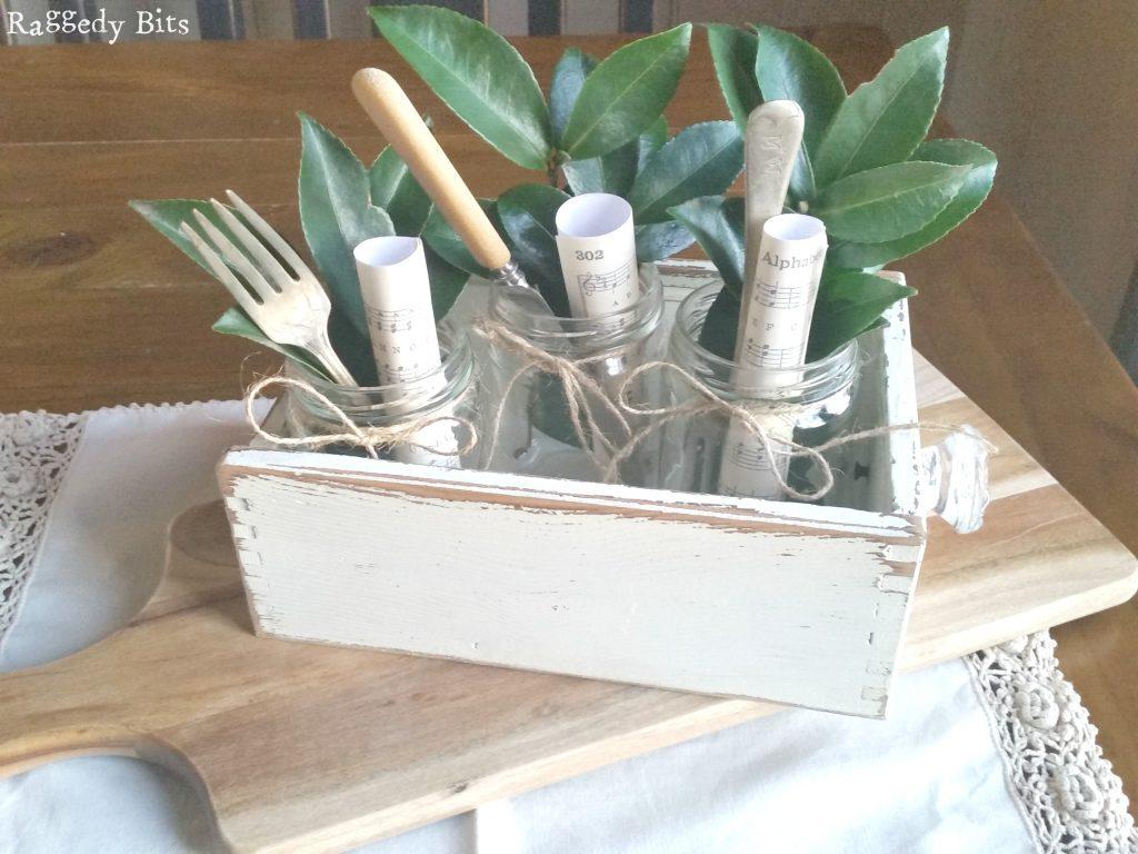 Sharing how to make a Simple Mason Jar Centerpiece   www.raggedy-bits.com