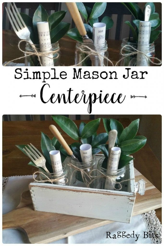 Sharing how to make a Simple Mason Jar Centerpiece | www.raggedy-bits.com