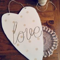 Using and an old heart that use to hang on my son's wall when he was little, I made a Sisal Rope Love Sign   www.raggedt-bits.com