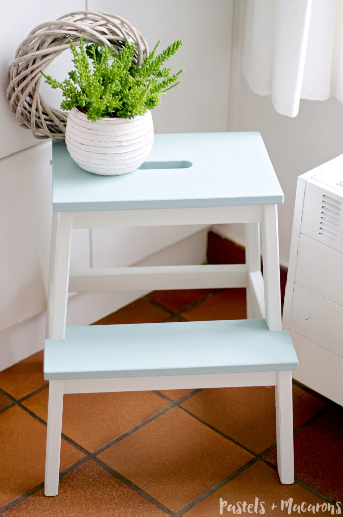 Ikea Step Stool Makeover - a feature from Waste Not Wednesday-3 by Pastels and Macarons  www.raggedy-bits.com