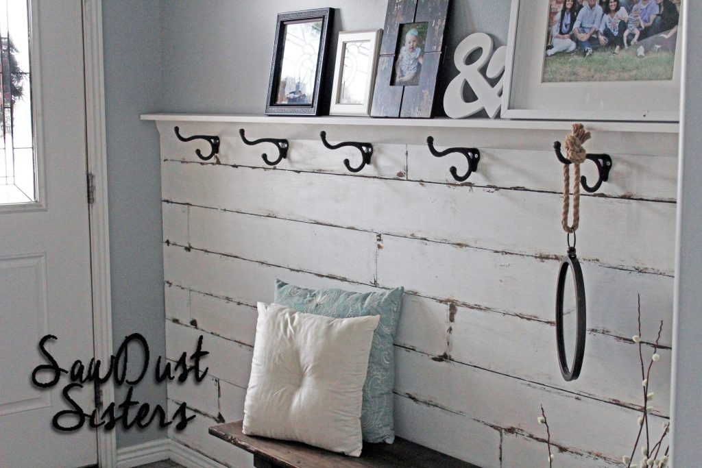 DIY Entry Wall Plank Wall which is a feature from Waste Not Wednesday-4 Party from Sawdust Sisters   www.raggedy-bits.com