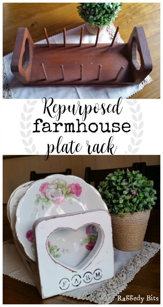 Using white chalkpaint I gave an old plate rack a new lease on life. Full tutorial for Repurposed Farmhouse Plate Rack | www.raggedy-bits.com