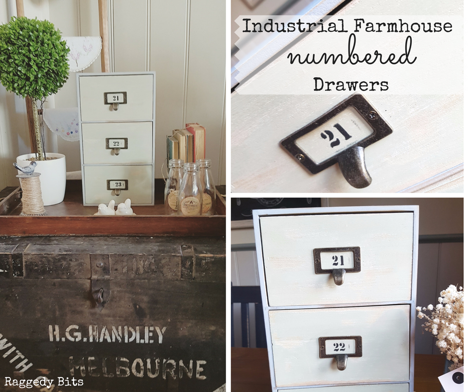 Thrifted drawers transformed into Industrial Farmhouse Numbered Drawers using Milk Paint. Full Tutorial | www.raggedy-bits.com