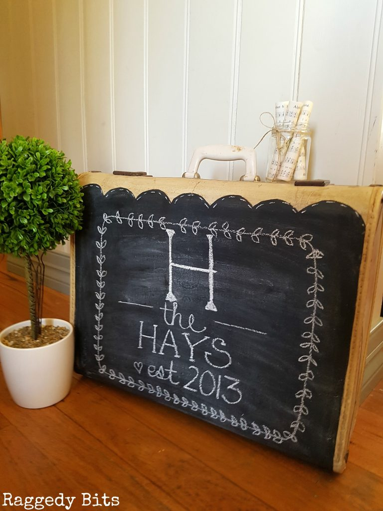 Give an old vintage suitcase a new lease on life. Vintage Farmhouse Chalkboard Suitcase full tutorial | www.raggedy-bits.com