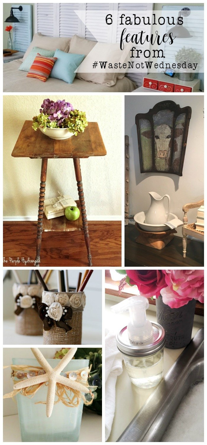 Features from our fun #WasteNotWednesday repurposed and upcycled party this week! Feel free to pop on over and join or to come for your weekly dose of inspiration!! www.raggedy-bits | www.mythriftyhouse.com | www.smallhomesoul.com | www.greatfullyvintage.com