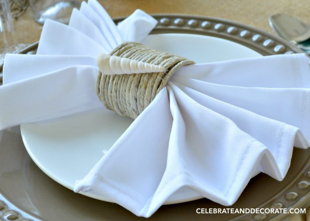 DIY Coastal Napkin Rings which is a feature from Waste Not Wednesday-12 by Celebrate & Decorate   www.raggedy-bits.com