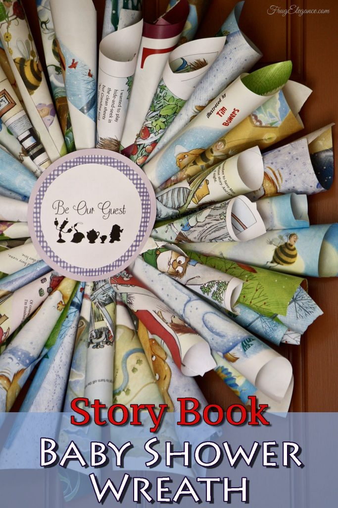 Story Book Baby Shower Wreath which is a feature from Waste Not Wednesday-13 by FrugElegance | www.raggedy-bits.com