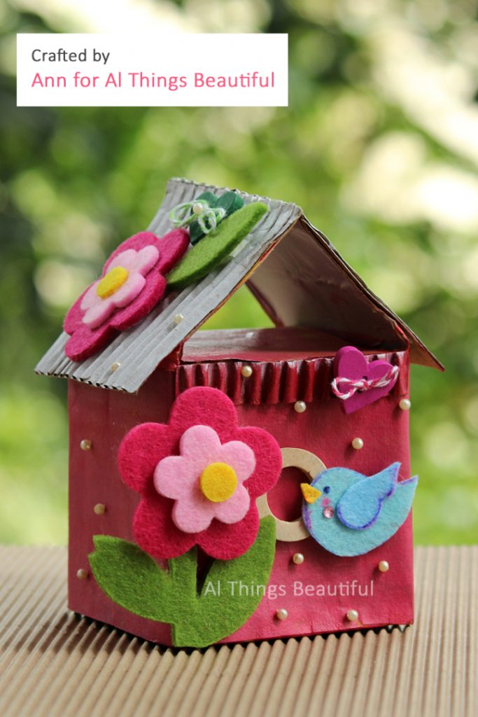 Tetrapak Decorative Birdhouse which is a feature from Waste Not Wednesday-13 by Al Things Beautiful | www.raggedy-bits.com