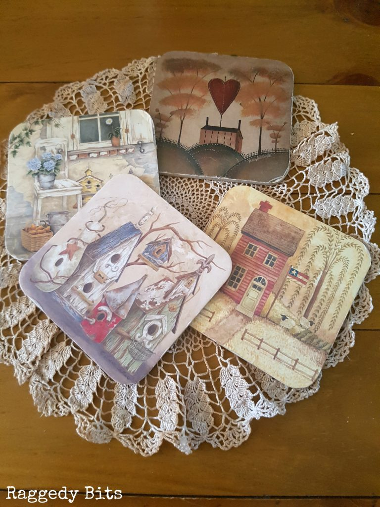 Give your old worn out coasters a new lease on life using some mod podge, music sheets and your Silhouette Cameo. DIY Farmhouse Music Sheet Coasters   Full tutorial   www.raggedy-bits.com