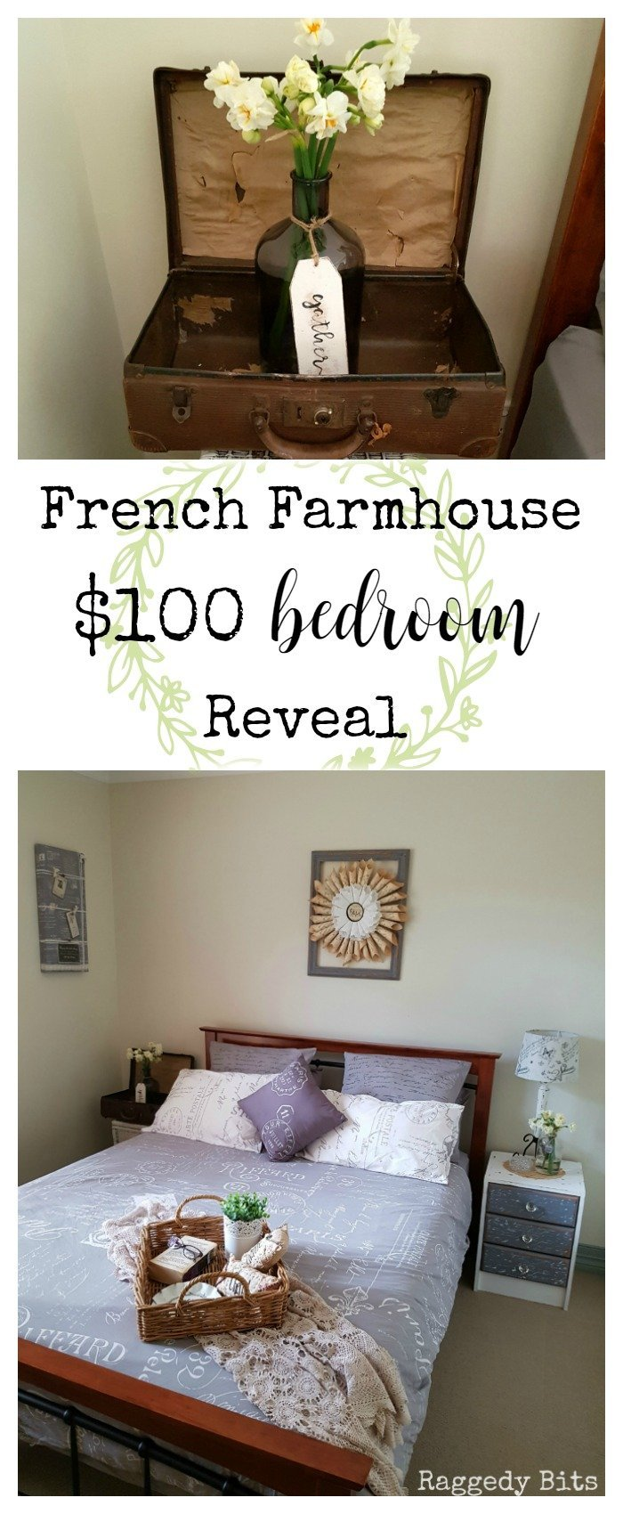 See how I gave my daughters room a French Farmhouse $100 Bedroom Makeover | www.raggedy-bits.com