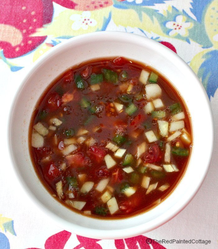 Gazpacho recipe which is a feature from Waste Not Wednesday-16 by The Red Painted Cottage | www.raggedy-bits.com
