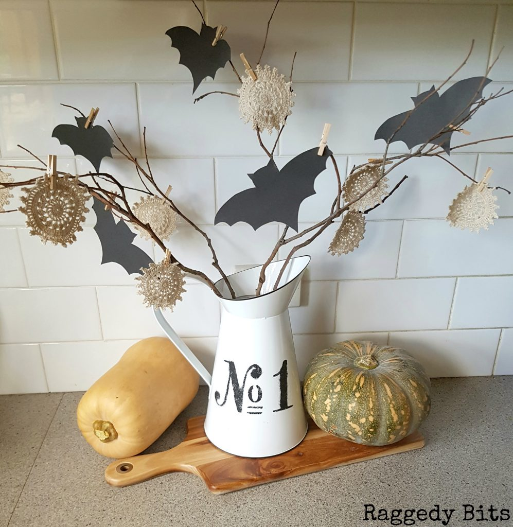 A fun 10 Minute Halloween Bat Twig Tree to add to your decorating this Halloween | Free Bat Template | www.raggedy-bits.com