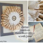 Vintage Farmhouse Music Sheet and Paper Doily Wreath Frame
