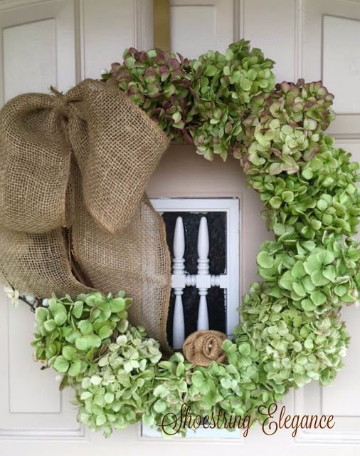 How to make a Hydrangea Wreath which is a feature from Waste Not Wednesday-20 by Shoestring Elegance | www.raggedy-bits.com