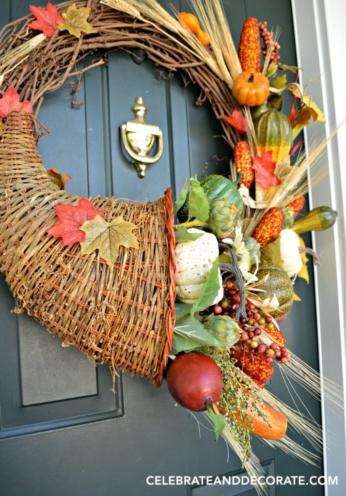 Cornucopia Fall Wreath which is a feature from Waste Not Wednesday-21 by Celebrate & Decorate | www.raggedy-bits.com