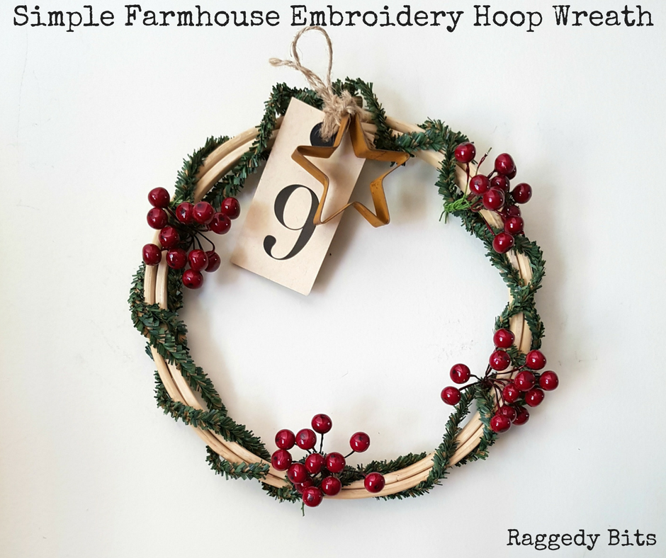 Simple Farmhouse Embroidery Hoop Wreath Raggedy Bits