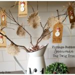 Vintage Button Snowman Tag Twig Tree