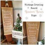 Vintage Ironing Board Reindeer Names Sign