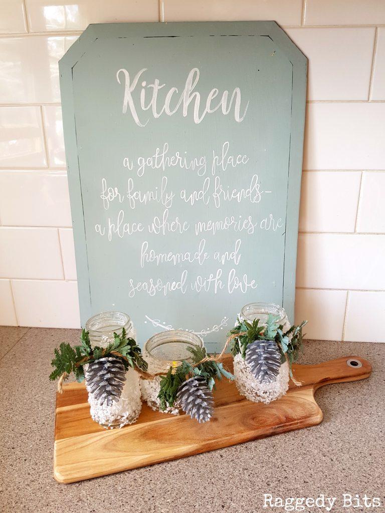 Turn everyday jars into Snowflake Pinecone Luminaries | Full tutorial | www.raggedy-bits.com