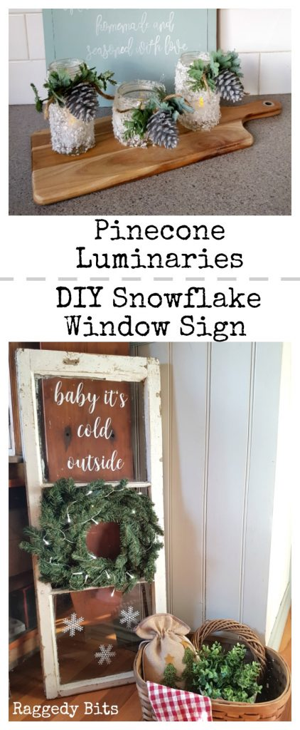 Waste Not Wednesday-28 Raggedy Bits Projects for the week | Snowflake Pinecone Luminaries | DIY Snowflake Window Sign | www.raggedy-bits.com
