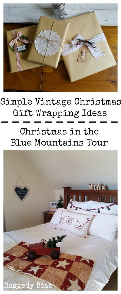 Waste Not Wednesday-30 Raggedy Bits Projects for the week | Simple Vintage Gift Wrapping Ideas | Christmas in the Blue Mountains Home Tour - Part 2 | www.raggedy-bits.com
