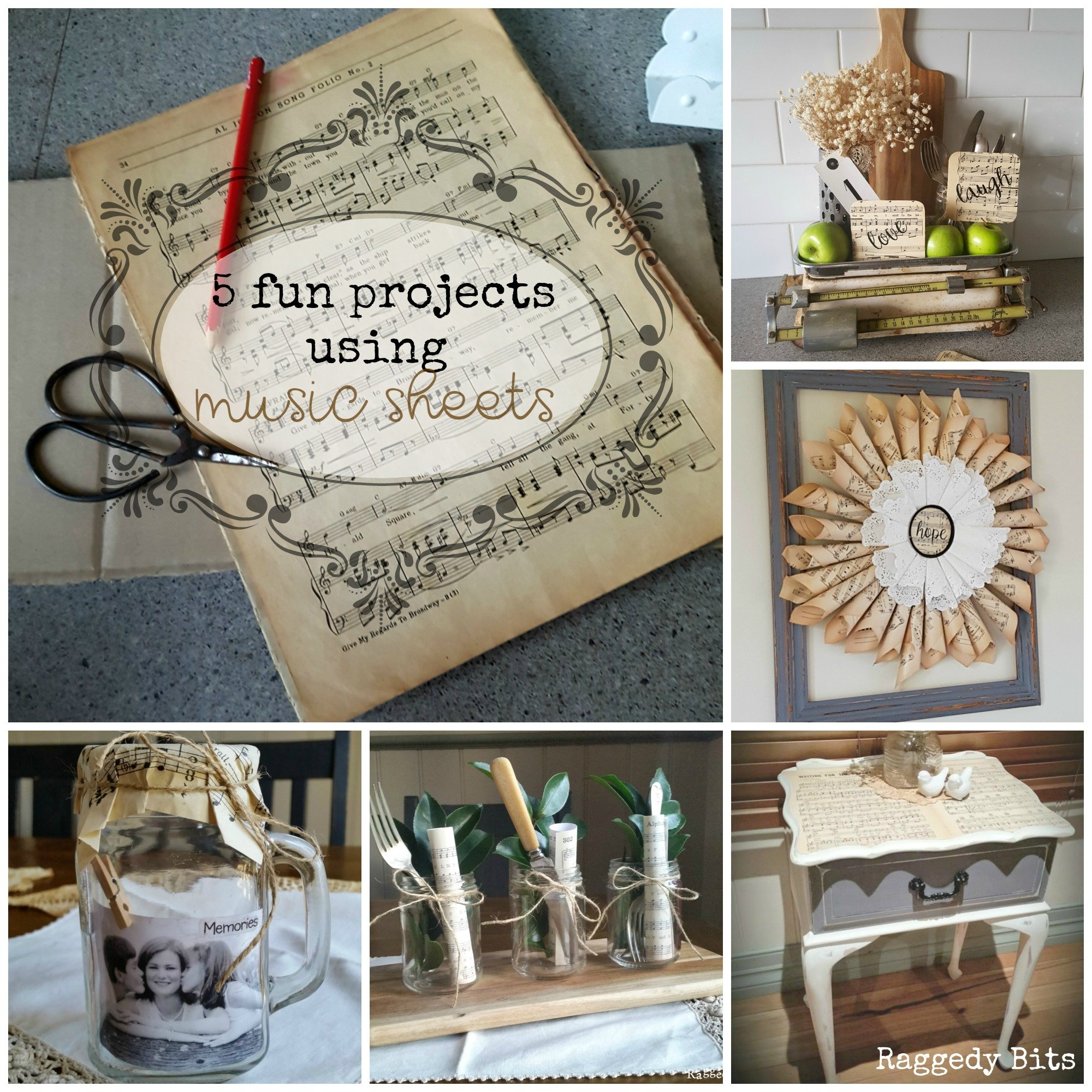 A collection of 5 Fun Projects Using Music Sheets to add some Vintage Farmhouse Charm to your home | www.raggedy-bits.com