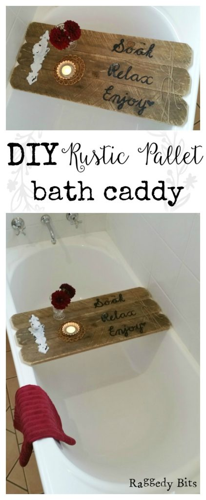 Waste Not Wednesday-34 Raggedy Bits Projects for the week | DIY Rustic Pallet Bath Caddy | www.raggedy-bits.com