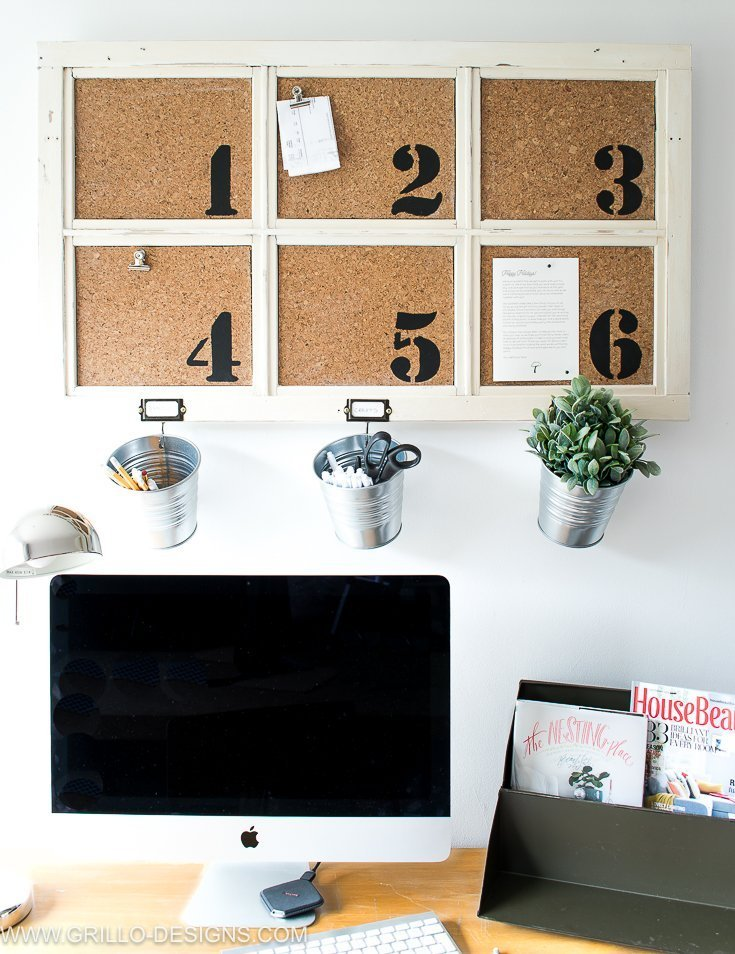 Industrial DIY Bulletin Board which is a feature from Waste Not Wednesday-35 by Grillo Designs | www.raggedy-bits.com