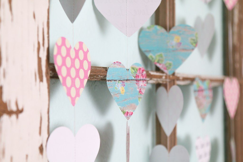 Simple Valentines Garland: A Tutorial which is a feature from Waste Not Wednesday-36 by A Fresh Squeezed Life | www.raggedy-bits.com